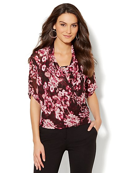 Wrap Print Blouse - New York & Company