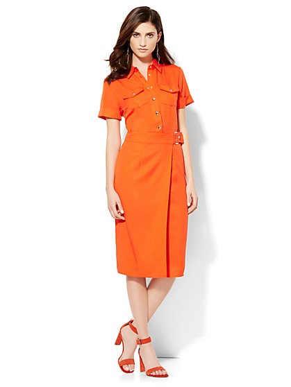 Wrap Shirt Dress - Solid - Petite  - New York & Company