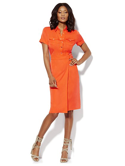 Wrap Shirt Dress - Solid - New York & Company