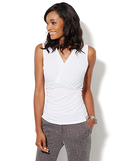 Wrap Stretch-Knit Top - New York & Company