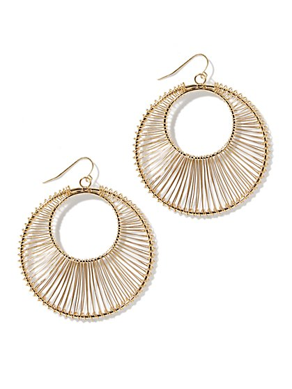 Wrapped Hoop Drop Earring  - New York & Company
