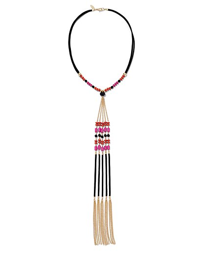 Y-Neck Beaded Fringe Pendant Necklace  - New York & Company
