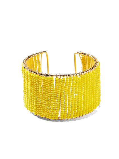 Yellow Seedbead Cuff Bracelet  - New York & Company