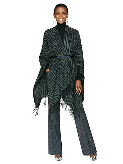 Zebra Fringed Wrap - New York & Company