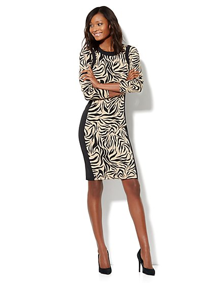 Zebra-Print Midi Sheath Dress