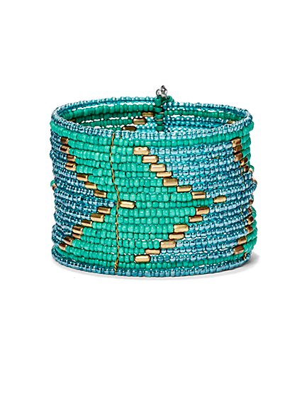 Zig-Zag Beaded Cuff Bracelet  - New York & Company