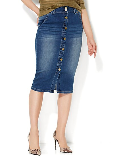 Zig-Zag Topstitched Denim Skirt - Mojave Indigo Wash  - New York & Company