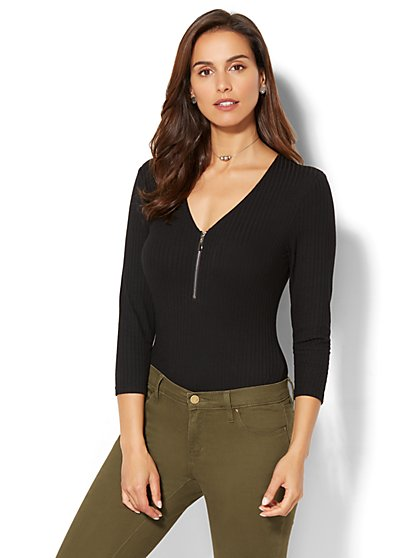 Zip-Accent Bodysuit - New York & Company