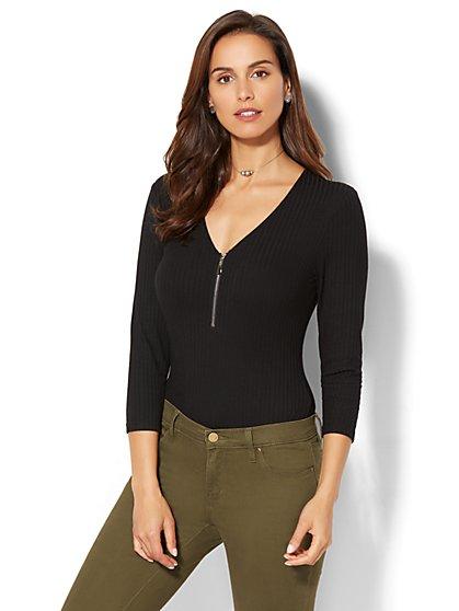 Zip-Accent Bodysuit - New York & Company
