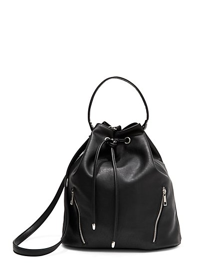 Zip-Accent Drawstring Bag  - New York & Company