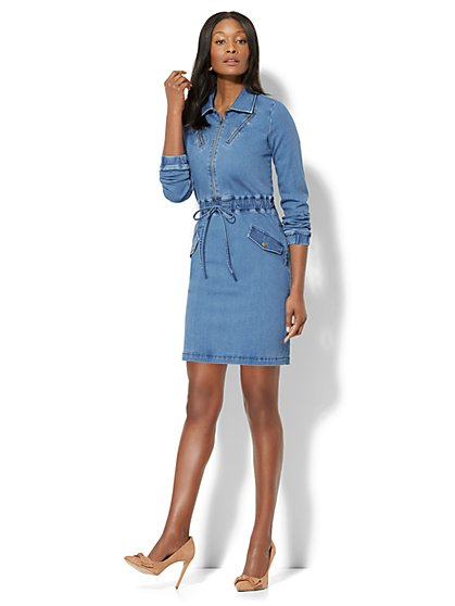 Zip-Accent Drawstring Denim Dress - Soft Blue - New York & Company