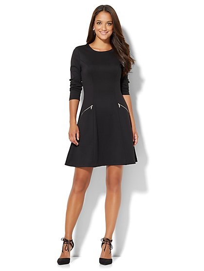 Zip-Accent Flare Dress - Petite  - New York & Company