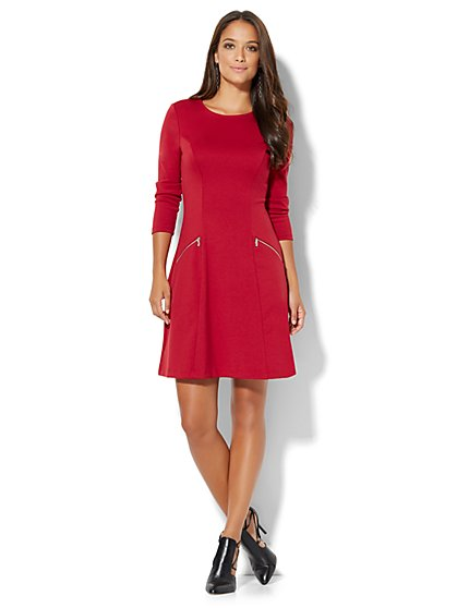 Zip-Accent Flare Dress - Petite  - New York & Company