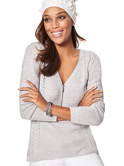 Zip-Accent Hi-Lo Sweater - Marled - New York & Company