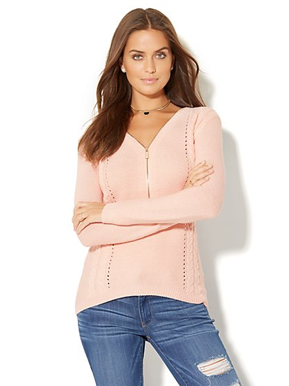 Zip-Accent Hi-Lo Sweater - New York & Company