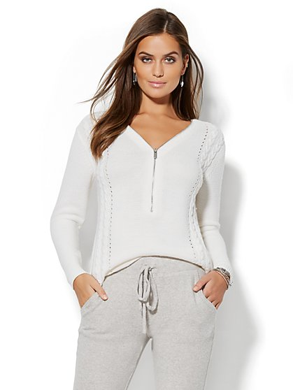 Zip-Accent Hi-Lo Tunic Sweater - New York & Company