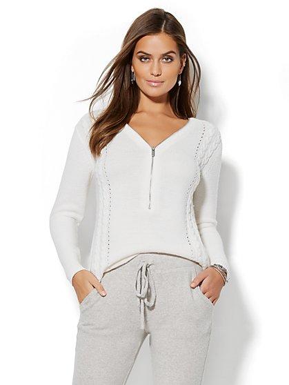 Zip-Accent Hi-Lo Tunic Sweater - New York & Company