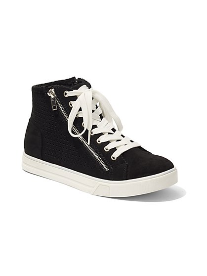 Zip-Accent High-Top Sneaker  - New York & Company