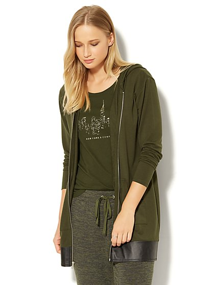 Zip-Accent Hooded Tunic Sweatshirt - New York & Company