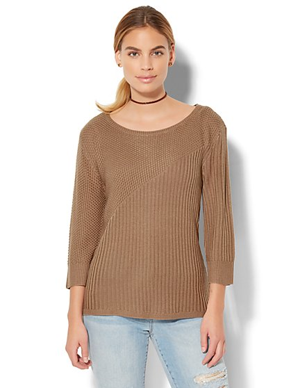 Zip-Accent Mixed-Knit Sweater - New York & Company