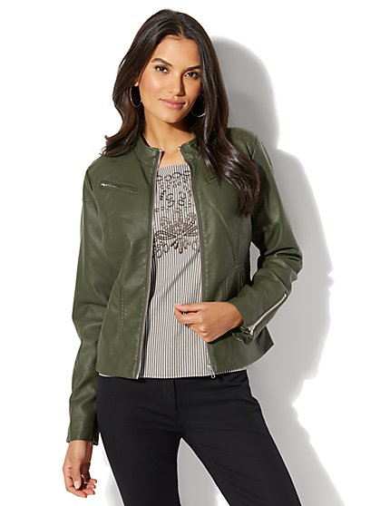 Zip-Accent Moto Jacket - New York & Company