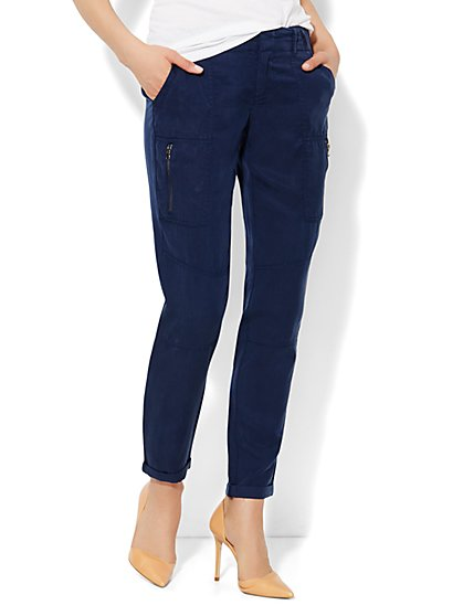 Zip-Accent Super-Soft Cargo Pant  - New York & Company