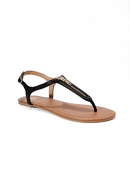 Zip-Accent T-Strap Flat Sandal  - New York & Company