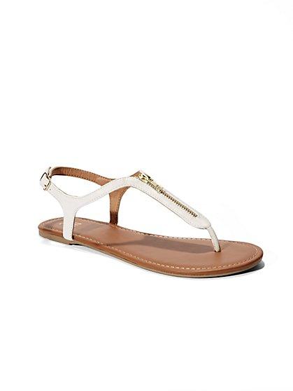 Zip-Accent T-Strap Flat Sandal  - New York & Company