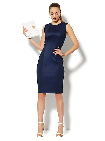 Zip-Accent Textured Sheath Dress  - New York & Company