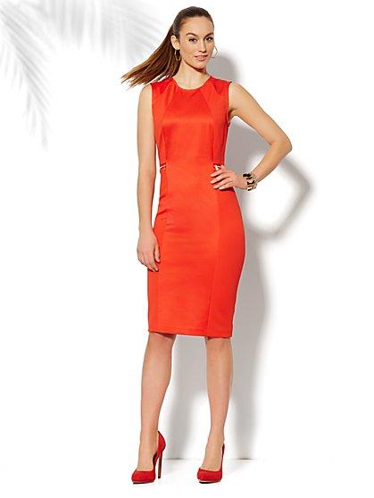 Zip-Accent Textured Sheath Dress  - New York & Company