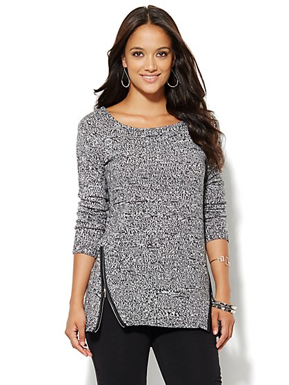 Zip-Accent Tunic Sweater - Marled - Black - New York & Company
