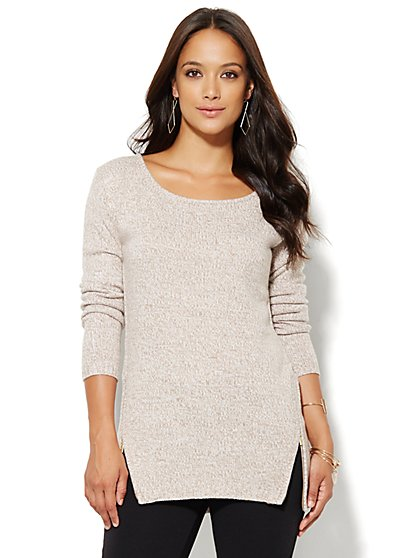 Zip-Accent Tunic Sweater - Marled  - New York & Company