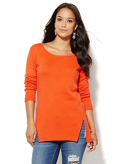 Zip-Accent Tunic Sweater - Orange Burst - New York & Company