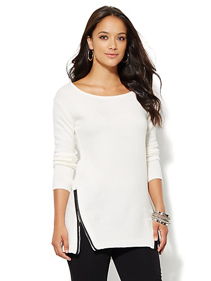 Zip-Accent Tunic Sweater - New York & Company