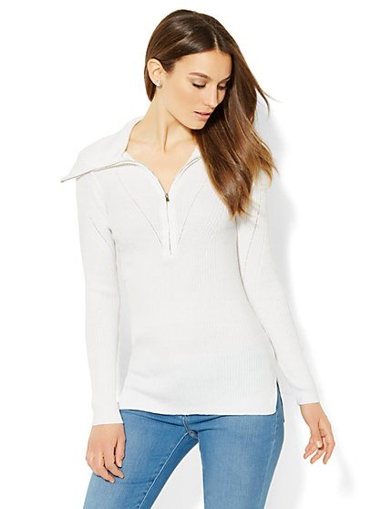 Zip-Accent Turtleneck Sweater  - New York & Company