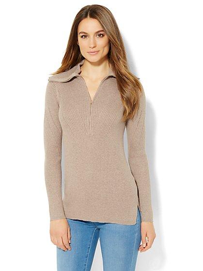 Zip-Accent Turtleneck Sweater  - New York & Company