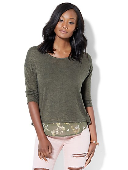 Zip-Accent Twofer Sweater  - New York & Company