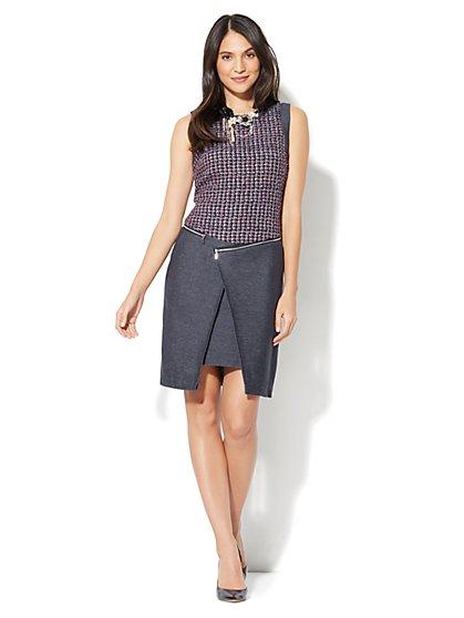 Zip-Accent Wrap Dress - New York & Company