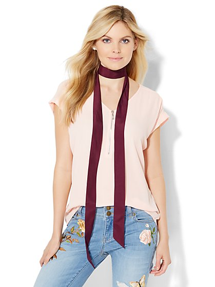 Zip-Front Blouse  - New York & Company