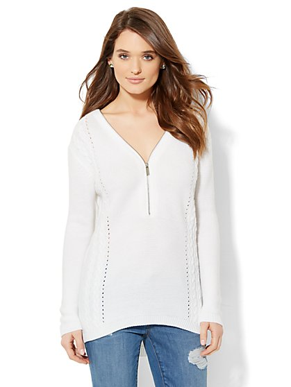 Zip-Front Cable-Knit Sweater  - New York & Company