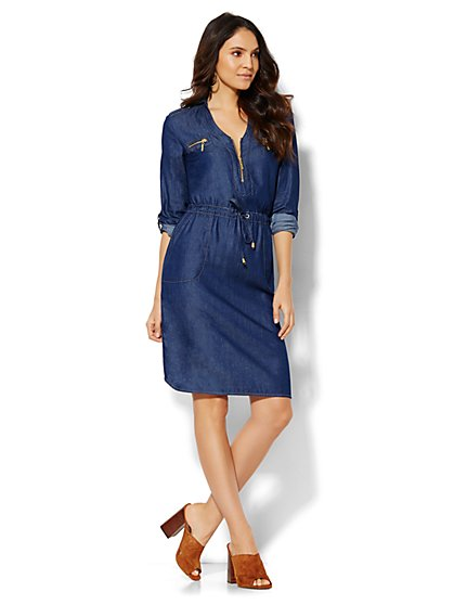 Zip-Front Denim Shirtdress - Blue Estate Wash  - New York & Company