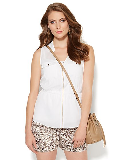 Zip-Front Double-Pocket Blouse  - New York & Company