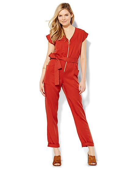 Zip-Front Jumpsuit - Solid  - New York & Company