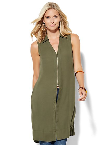 Zip-Front Long Sleeveless Blouse  - New York & Company
