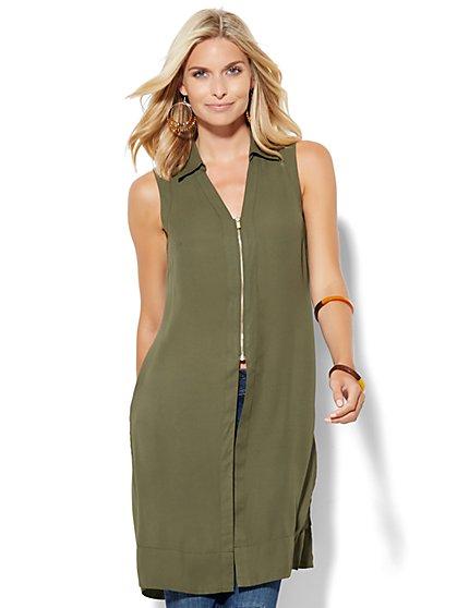 Zip-Front Long Sleeveless Blouse  - New York & Company