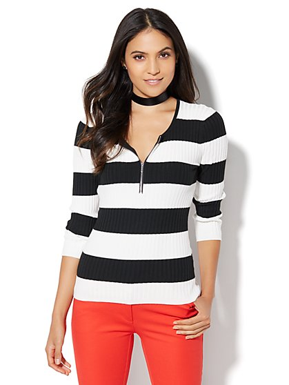 Zip-Front Ribbed Sweater - Stripe  - New York & Company