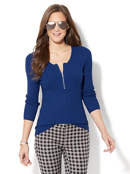 Zip-Front Ribbed Sweater - New York & Company