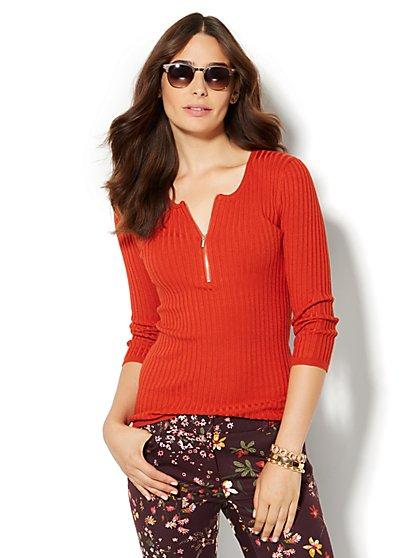 Zip-Front Scoopneck Pullover  - New York & Company