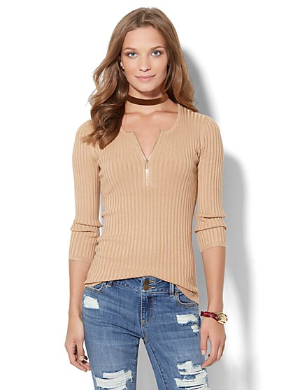 Zip-Front Scoopneck Pullover  - New York & Company