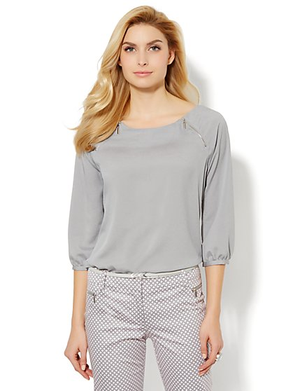 Zip-Shoulder Blouse